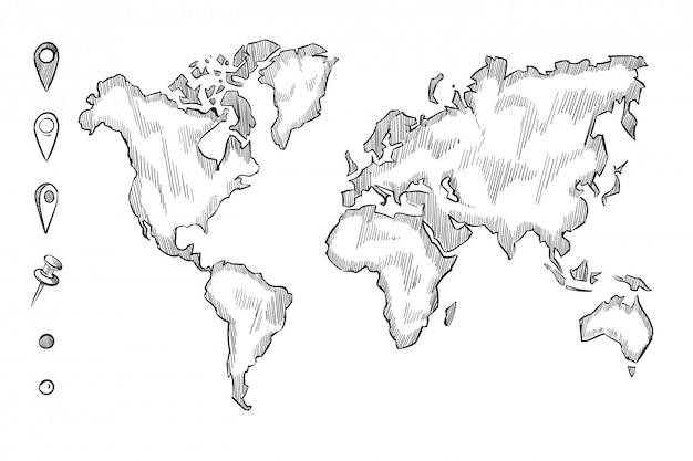 Hand drawn, rough sketch world map with doodle pins Premium Vector