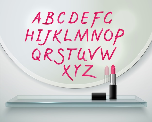 Hand drawn on round mirror red lipstick alphabet letters realistic composition Free Vector
