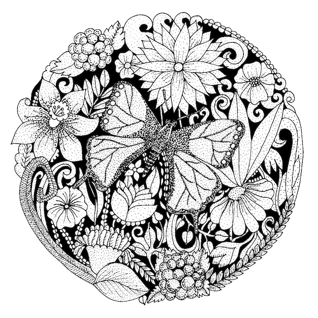Hand drawn rounded composition with flowers, butterfly, leaves. nature design for relax, meditation. vector black and white illustration Free Vector