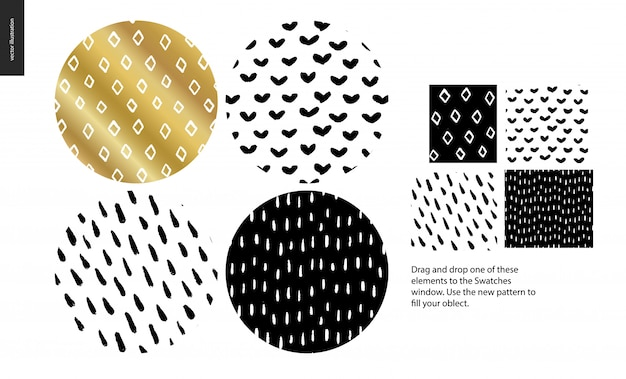 Hand drawn rounded pattern set Premium Vector