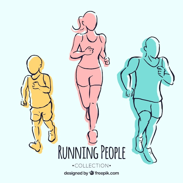 Hand drawn runners Free Vector