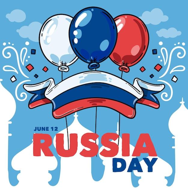 風船で手描きロシア日の背景 無料ベクター