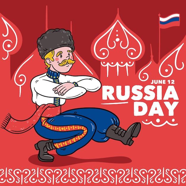 Нарисованная рукой концепция дня россии Бесплатные векторы