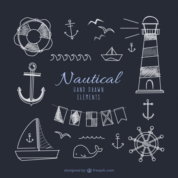 Hand drawn sailor elements in blackboard effect Free Vector
