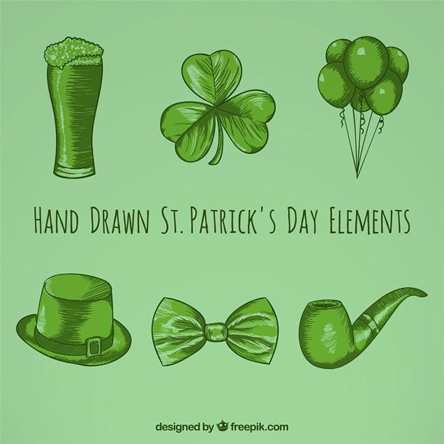 Hand drawn saint patrick day elements Free Vector