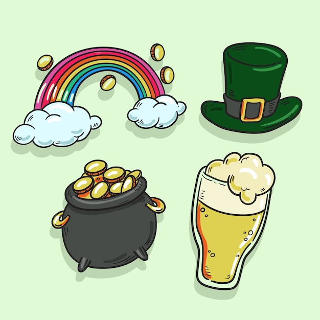 Hand drawn saint patrick's day element collection Free Vector