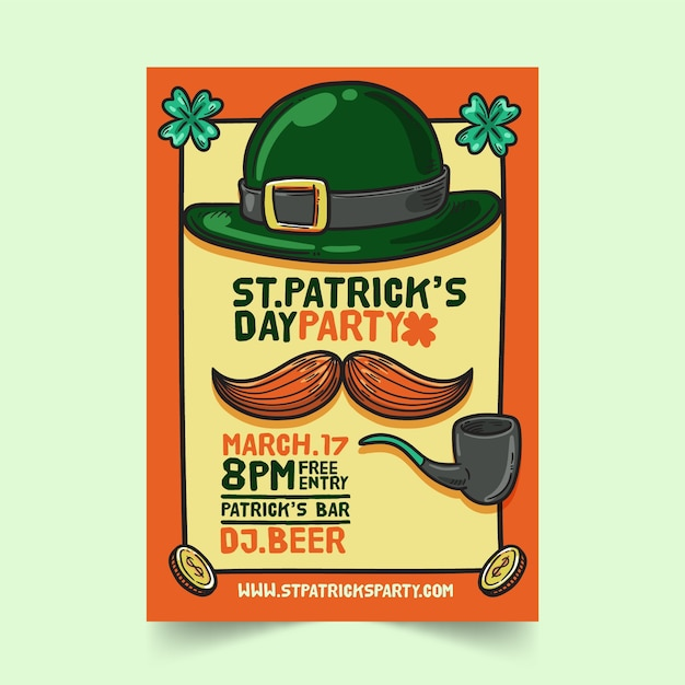 Hand drawn saint patrick's day flyer template Free Vector