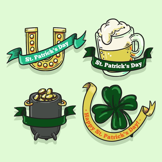 Hand drawn saint patrick's day label collection Free Vector