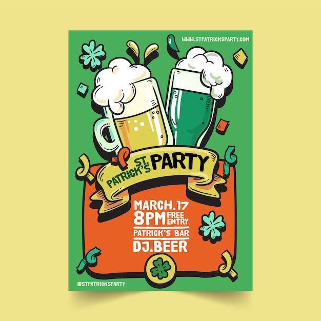 Hand drawn saint patrick's day poster template Free Vector