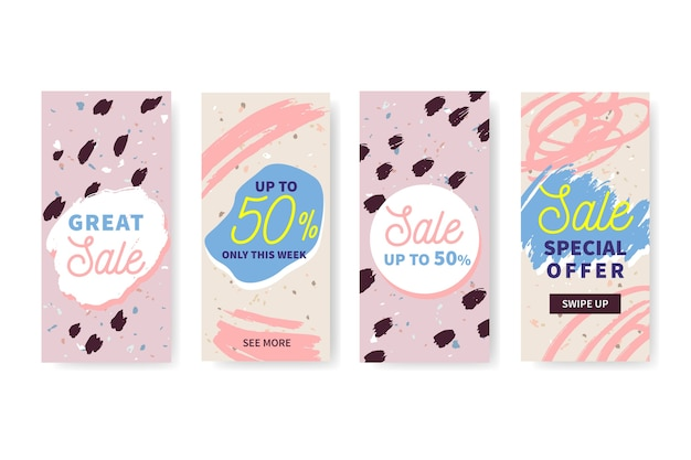 Hand drawn sale instagram stories collection Free Vector
