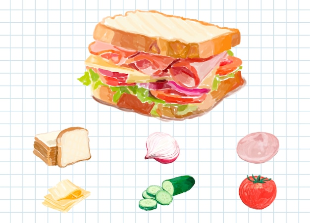 Hand drawn sandwich watercolor style Free Vector