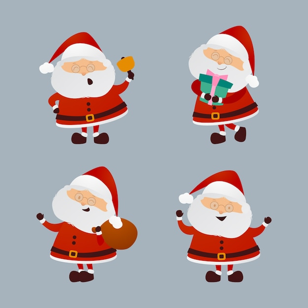 Hand drawn santa claus character collection Free Vector