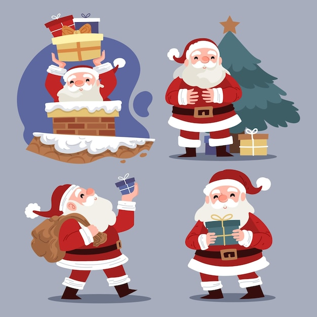 Hand drawn santa claus character collection Premium Vector