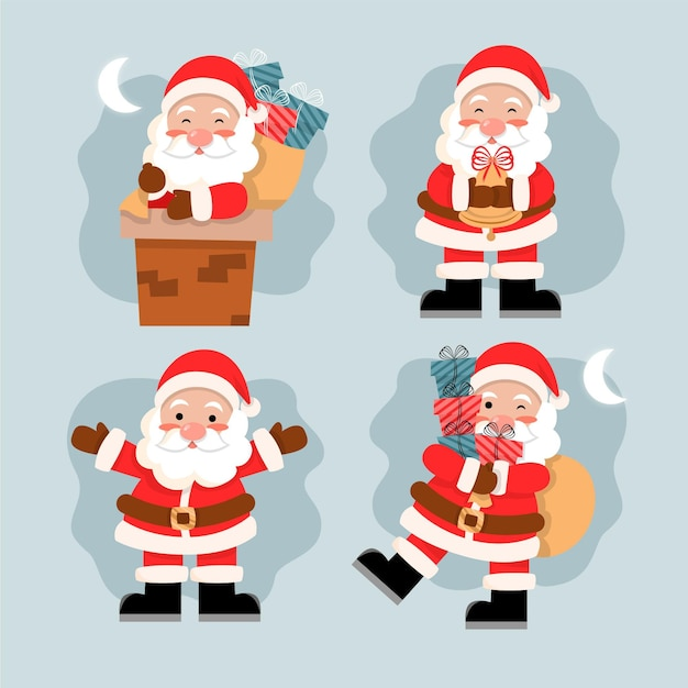 Hand drawn santa claus character collection Free Vector