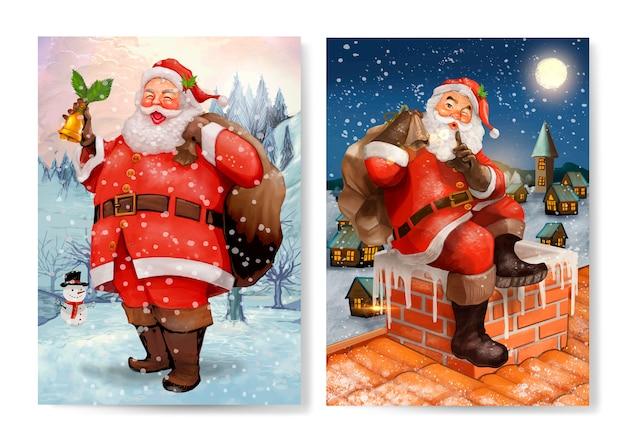 手描きのサンタクロースクリスマスグリーティングカードセット 無料ベクター