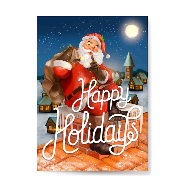 Hand drawn santa claus happy holidays greeting card Free Vector