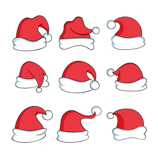 Hand drawn santa claus hat collection Premium Vector