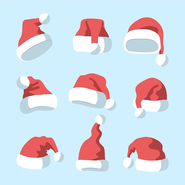 Hand drawn santa claus hat collection Free Vector