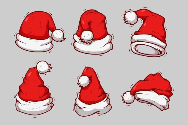 Hand drawn santa claus hat collection Premium Vector