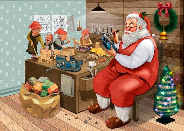 Hand drawn santa claus making christmas presents Free Vector