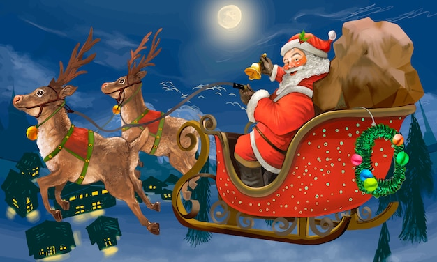 Hand drawn santa claus riding a sleigh delivering presents Free Vector