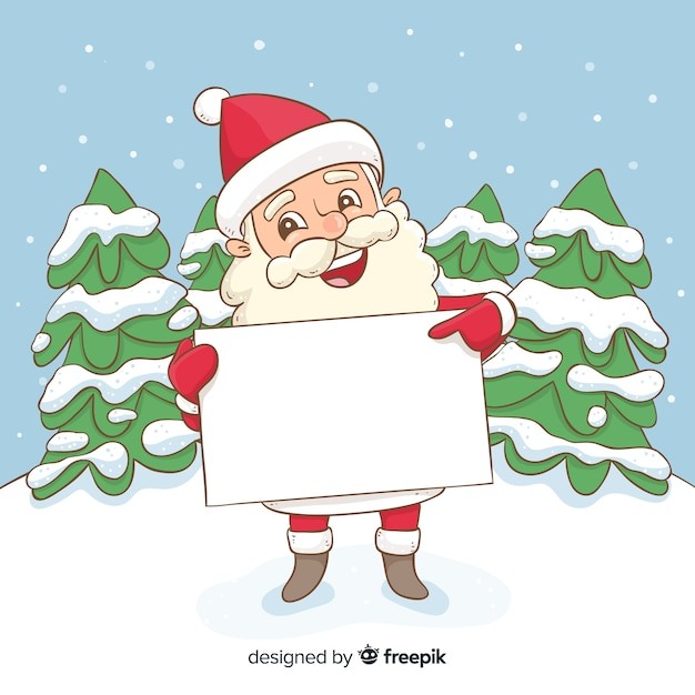 Hand drawn santa holding blank sign Free Vector