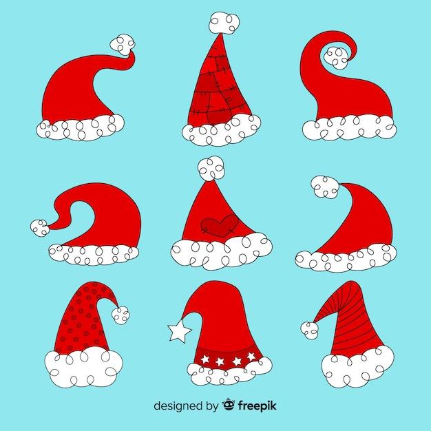 Hand drawn santa's hat collection Free Vector