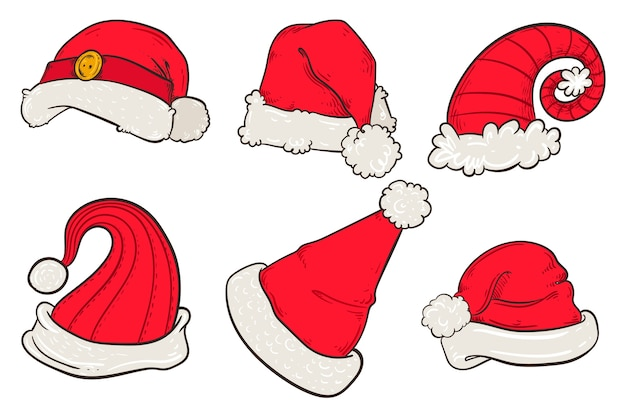 Hand drawn santa's hat collection Free Vector
