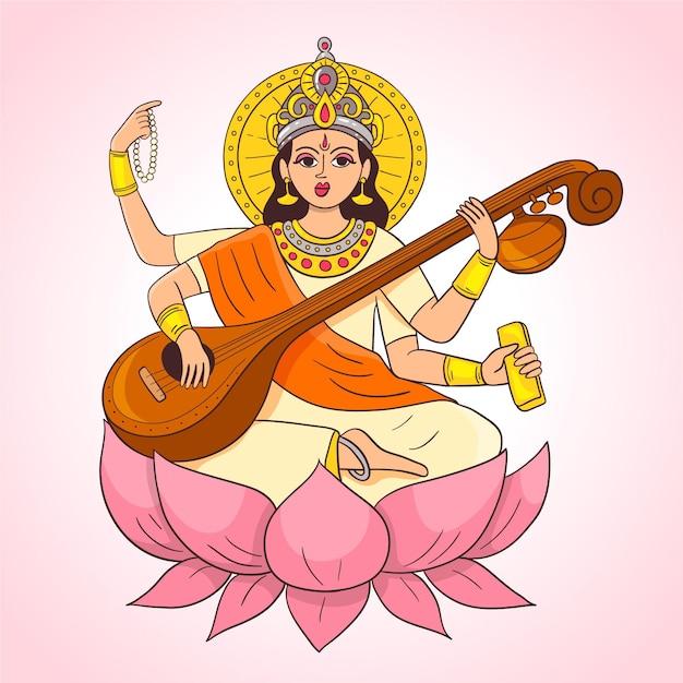 Saraswati disegnato a mano che gioca su uno strumento musicale Vettore gratuito