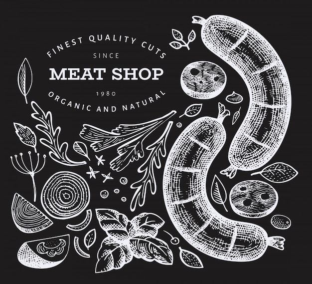 Hand drawn sausages, spices and herbs cover chalkboard Premium Vector