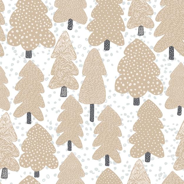 Hand drawn scandinavian tree seamless pattern. Premium Vector