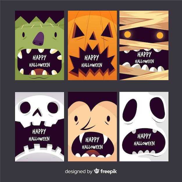 Hand drawn scary faces card collection Free Vector