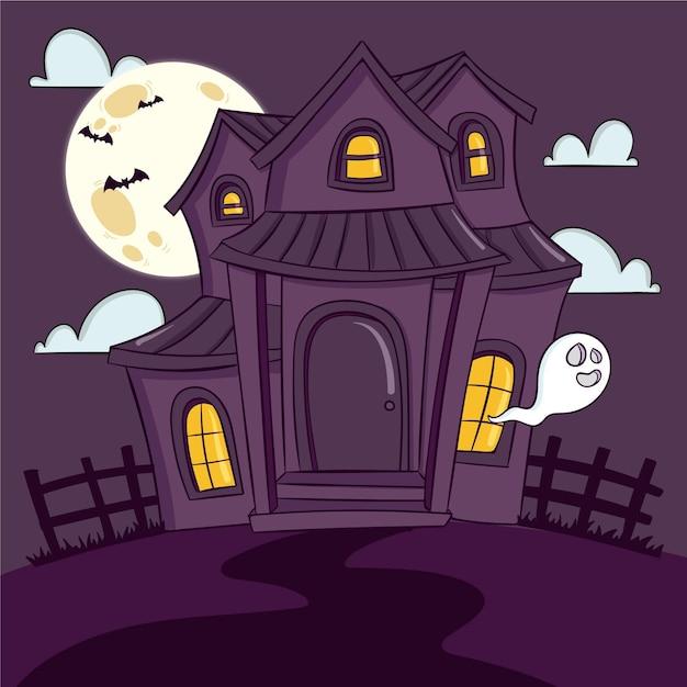 Casa spaventosa di halloween disegnata a mano Vettore gratuito