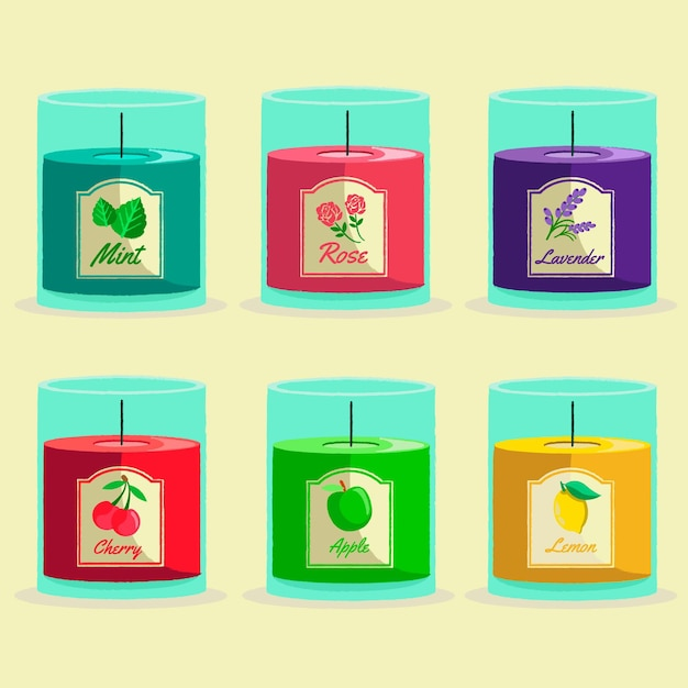 Hand drawn scented candle pack Free Vector
