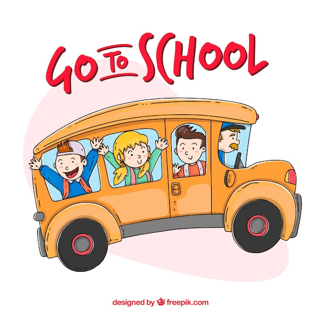 Hand drawn school bus with children Free Vector