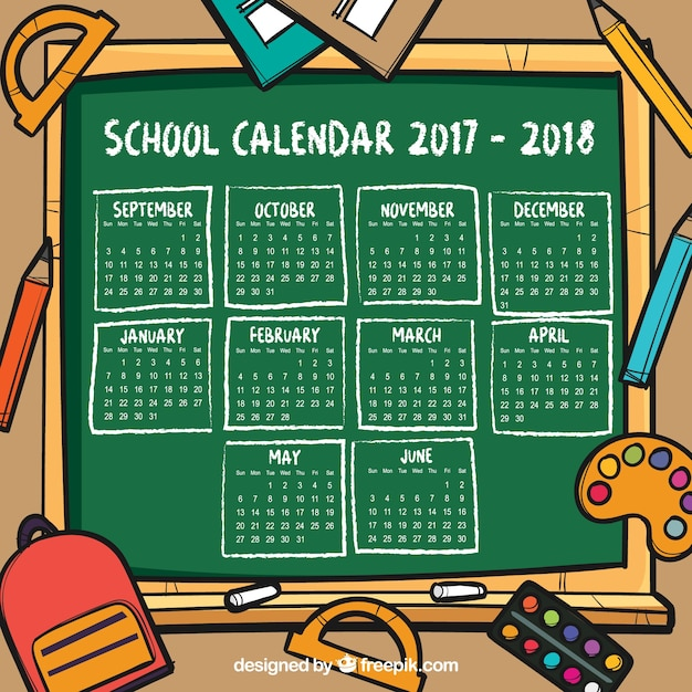 Hand drawn school calendar background with blackboard