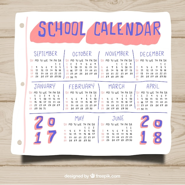 Hand drawn school calendar template