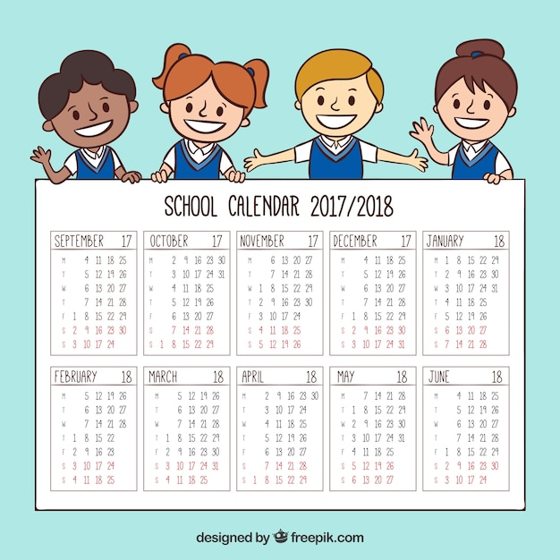 Hand drawn school calendar with children