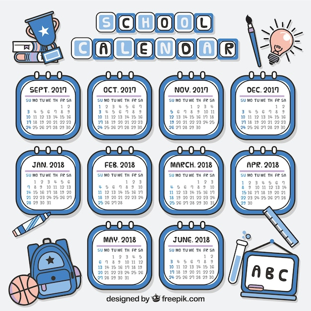 Hand drawn school calendar with modern style