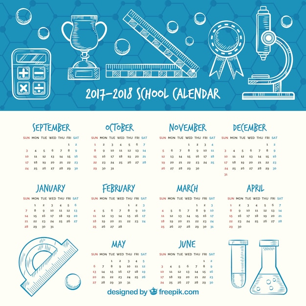 Hand drawn school calendar with scientific style