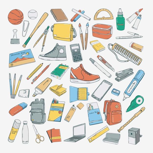 Hand drawn school education icons Premium Vector