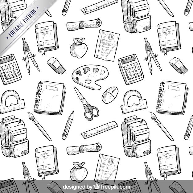 Hand drawn school equipment pattern Premium Vector