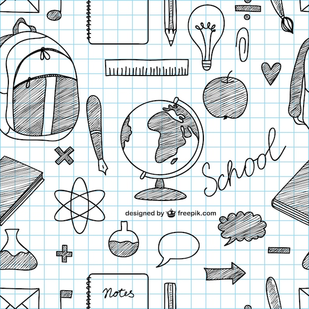 Hand Drawing Line Icons : Hand drawn school icons vector free download
