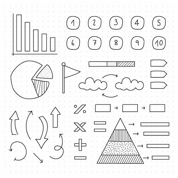 Hand drawn school infographic elements collection Free Vector