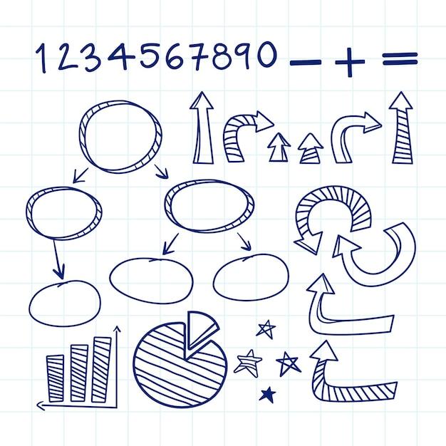 Elementi di infografica scuola disegnati a mano Vettore gratuito