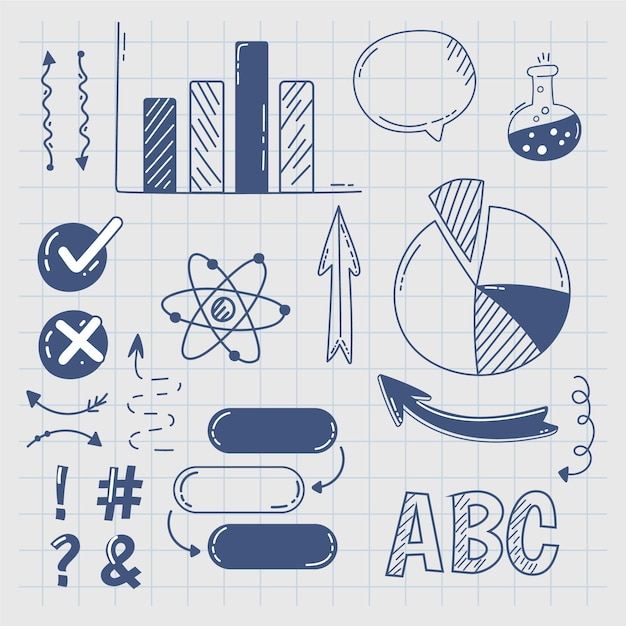 Hand drawn school infographic elements Free Vector