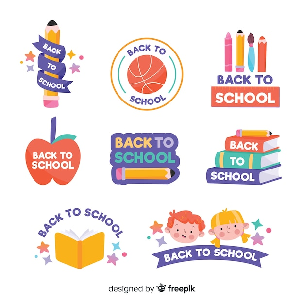 Hand drawn school logo collection Free Vector