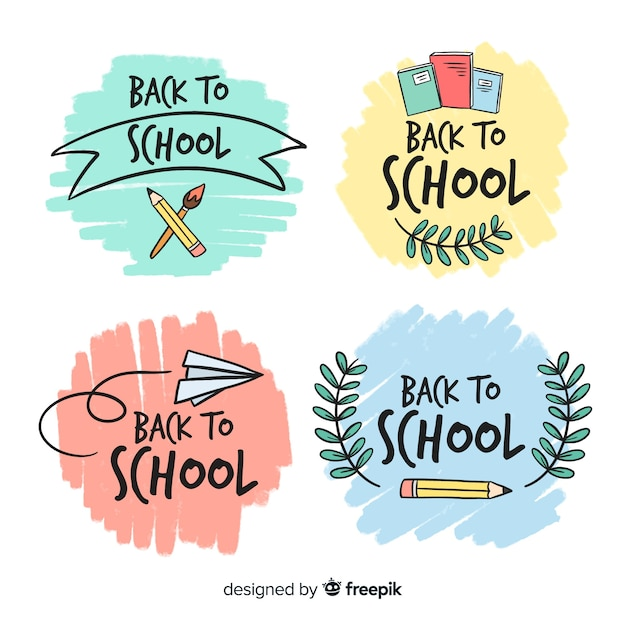 Hand drawn school logo template collection Free Vector