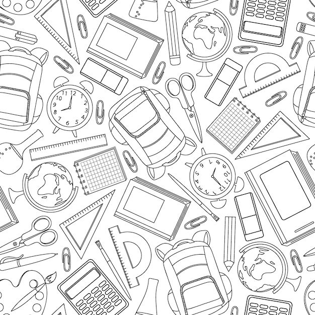 Hand drawn school supplies seamless pattern. vector illustration. Premium Vector