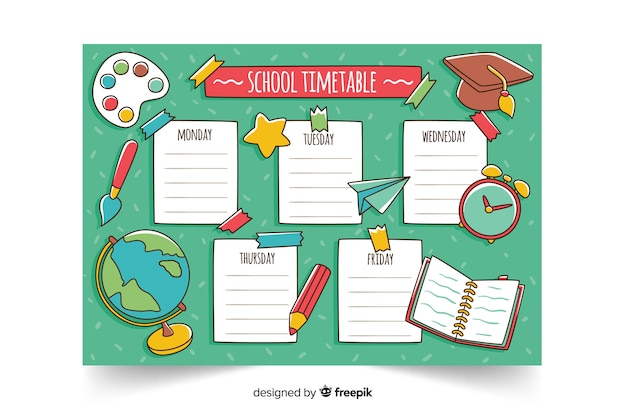 Hand drawn school timetable template Free Vector
